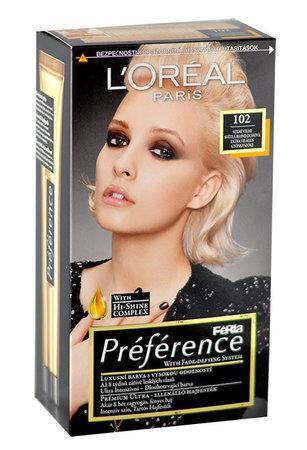 L´Oréal Paris Barva na vlasy Féria Préférence 102 Velmi velmi světlá blond duhová
