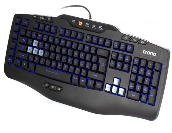 Crono CK3000 - modré podsvícená herní klávesnice, CZ + SK, USB, CK3000