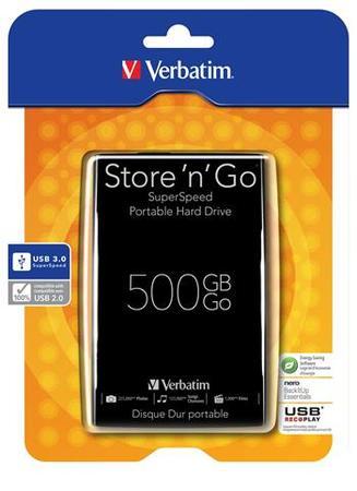 """Verbatim 500GB, 2,5"""", 5400rpm, USB 3.0, 8MB, 53029, 53029"""