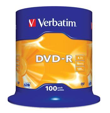 DVD-R 4,7GB, 16x, AZO, Verbatim, 100-cake, bal. 100 ks, 43549