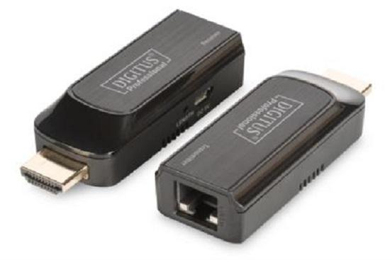 DIGITUS Mini HDMI Extender Set, Full HD, 50m, Cat6/6A/7, powered via Micro USB cable, black, DS-55203
