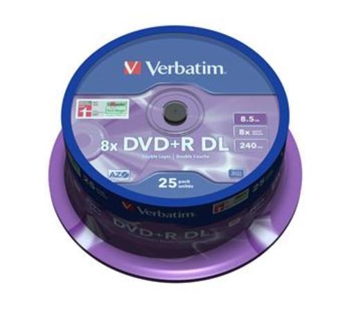 Verbatim DVD+R DL 8,5GB 8x, AZO, spindle, 25ks (43757), 43757