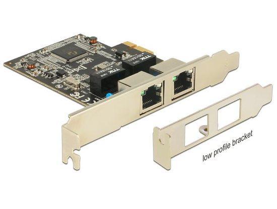DeLock PCI Express 2x Gigabit LAN +low profile, 89346