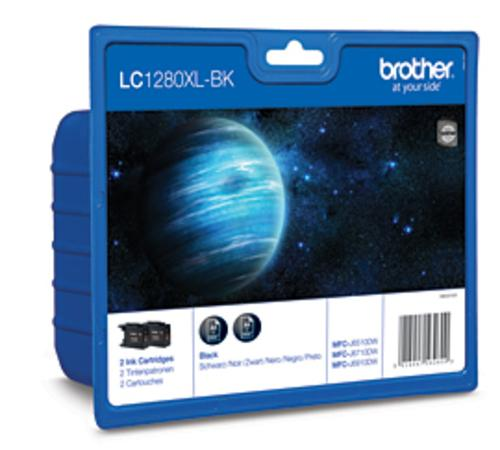 BROTHER inkoustová náplň LC-1280XL BKBP2/ multipack/ 2x černá