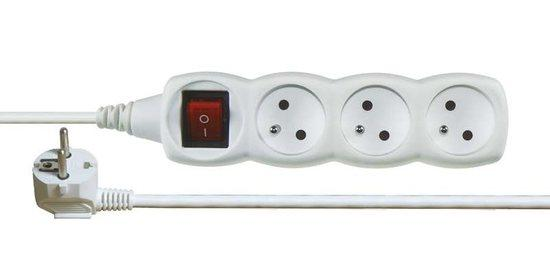 Prodlužovací kabel s vypínačem 3 zásuvky 2m, bílý