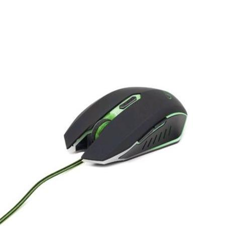 Myš Gembird MUSG-001-G, herní, optická, zeleno-černá, 2400DPI, USB, MYS0532G2
