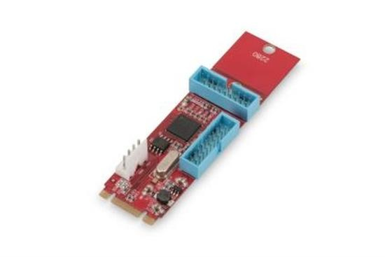 Digitus PCIe adaptercard NGFF (M.2) to 2 ports 19pin USB 3.0 , DS-30224