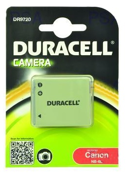 DURACELL Baterie - DR9720 pro Canon NB-6L, černá, 700 mAh, 3.7V