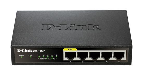 D-Link DES-1005P 5-Port Fast Ethernet PoE Desktop Switch, DES-1005P/E