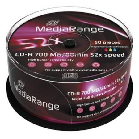 MEDIARANGE CD-R 700MB 52x Inkjet Fullsurface-Printable spindl 50pck/bal, MR208
