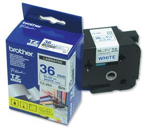Páska Brother TZ-263 (Modrý tisk/bílý podklad) - Originál, TZE263