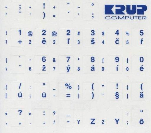 Premium CZ přelepky pro klávesnice s cizím layoutem - bílé písmo, průhledné pozadí, pkczb