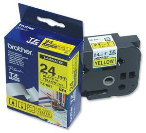 Brother - TZ-651, žlutá / černá (24mm, laminovaná), TZE651