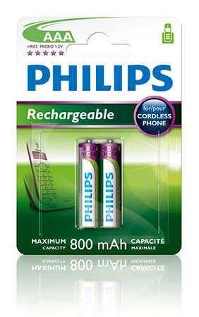 Philips dobíjecí baterie AAA 800mAh, NiMH - 2ks