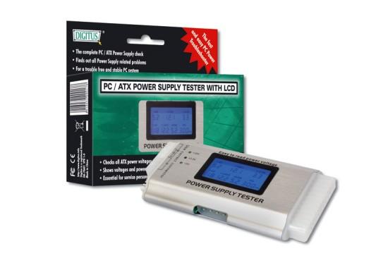 Digitus tester ATX zdrojů III (24-pin), LCD display, DA-70601