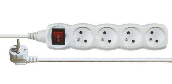 Prodlužovací kabel s vypínačem 4 zásuvky 5m, bílý