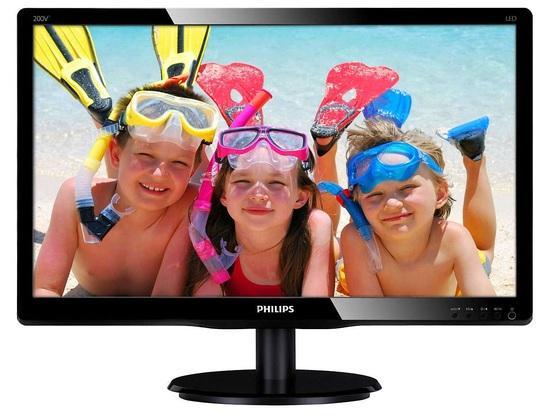 """Philips LCD 200V4QSBR 19,5""""wide MVA/1920x1080/8ms/10mil:1/VGA/DVI, 200V4QSBR/00"""