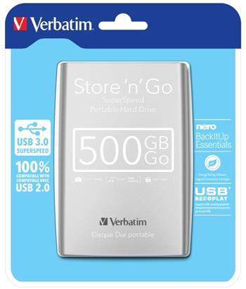 Verbatim Store `n` Go 500GB, 2,5``, USB 3.0, 53021, 53021