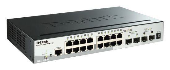 D-Link DGS-1510-20 20-Port Gigabit Stackable SmartPro Switch including 2 SFP ports and 2 x 10G SFP+ ports- 16 x 10/10 , DGS-1510-20