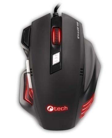 Myš C-Tech Akantha Ultimate GM-11 / laserová / 7 tlačítek / 3200dpi - černá, GM-11