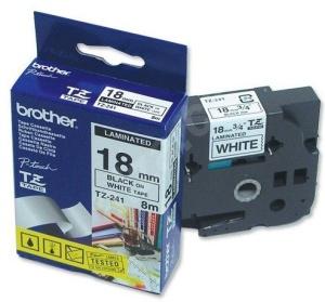 Brother - TZ-241, bílá / černá (18mm, laminovaná), TZE241