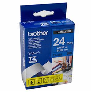 Brother - TZ-555, modrá / bílá (24mm, laminovaná), TZE555