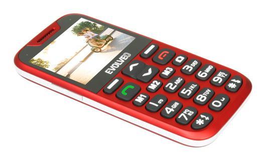 EVOLVEO EasyPhone XD, mobilní telefon pro seniory s nabíjecím stojánkem, červený