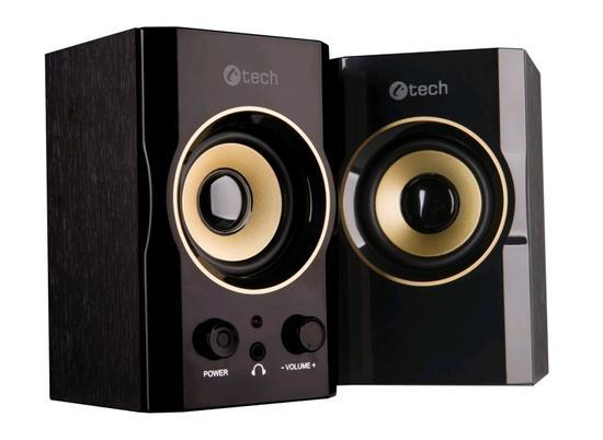 C-TECH reproduktory SPK-11, 2.0, dřevěné, černo-zlaté, USB, 5W
