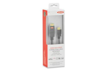 Ednet HDMI High Speed + Ethernet připojovací kabel, typ A, rotační, M/M, 5m, Ultra-HD, UL, bavlna, zlacené konektory