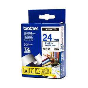 Brother - TZ-253, bílá / modrá (24mm, laminovaná), TZE253