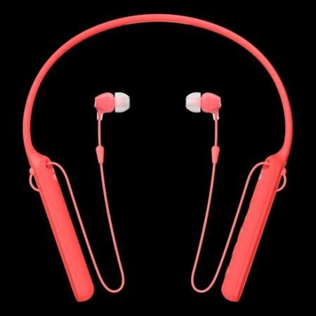 SONY WI-C400R Bezdrátová sluchátka do uší s technologiemi Bluetooth® a NFC s pohodlným páskem na krk - red