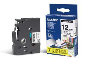 Brother - TZ-231, bílá / černá (12mm, laminovaná), TZE231