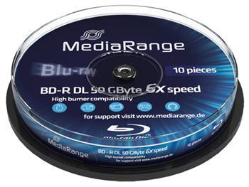 MEDIARANGE BD-R BLU-RAY 50GB 6x DoubleLayer spindl 10pck/bal, MR507