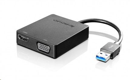 Lenovo kabel rozšiřující adaptér USB 3.0 na VGA/HDMI, 4X90H20061