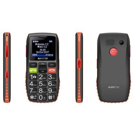 Mobilní telefon Aligator A440 Senior - černý/oranžový