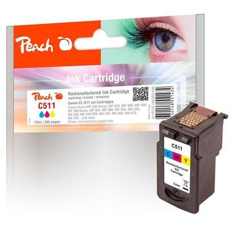 Inkoustová náplň Peach Canon CL-511,385 stran, kompatibilní - červená/modrá/žlutá, PEA314480