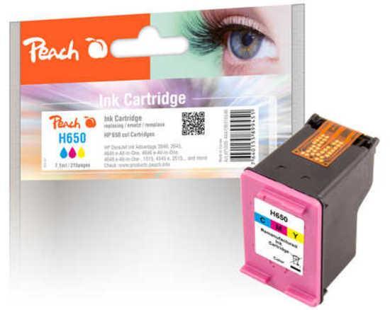 Inkoustová náplň Peach HP No. 650, 215 stran, CMY, kompatibilní