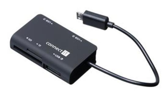 CONNECT IT čtečka paměťových karet + USB hub pro Samsung, micro USB, CI-198