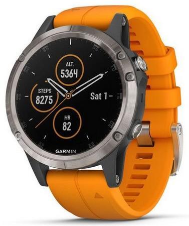 GARMIN GPS chytré hodinky fenix5 Plus Sapphire Titanium, Solar Flare Orange