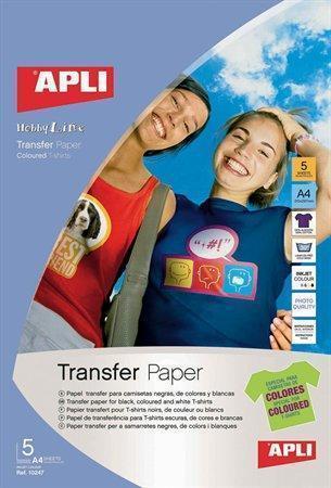 Nažehlovací fólie, pro inkoustové tiskárny, na tmavá a barevná trička, APLI, bal. 5 ks, 10247