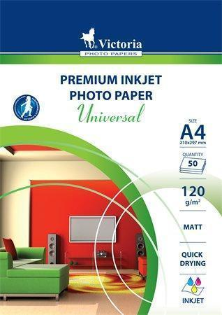 """Fotografický papír """"Universal"""", do inkoustové tiskárny, matný, A4, 120g, VICTORIA, bal. 50 ks,"""