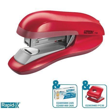 Stolní sešívačka Rapid F30 s plochým sešíváním, Červená, 23256502
