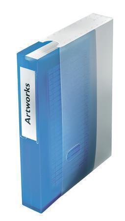 Kniha na CD/DVD, s krabičkou, na 48 ks, transparentní modrá, plast, ESSELTE, 67083