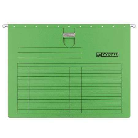 Závěsné desky, s rychlovazačem, zelené, karton, A4, DONAU, bal. 25 ks, 7430001PL-06