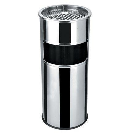 Odpadkový koš s popelníkem, kovový, inox