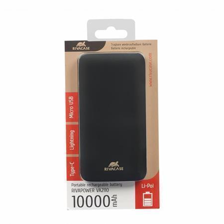 """Přenosná baterie """"VA2110"""", černá, lightning, microUSB, USB-C, 1000 mAh, RIVACASE"""