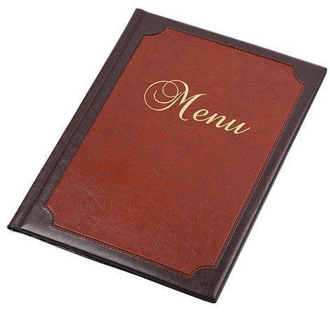 """Desky na jídelní lístek """"Framed"""", hnědá-červená, koženka, A4, PANTA PLAST"""