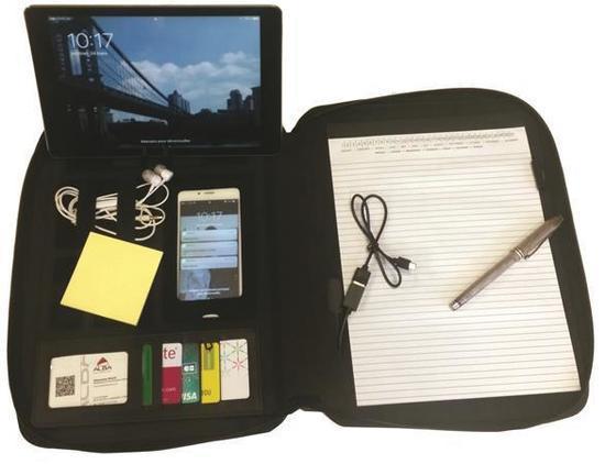 Konferenční desky, černá, A4, polyester, na zip, s baterii, ALBA, CONFBATA4