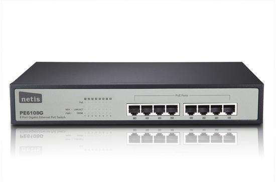 NETIS PE6108G GBit PoE switch, 8x 10/100/1000Mbps/4x POE port, rack kovový,150W, 30W na port, PE6108G