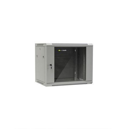 Netrack wall/hanging cabinet 19``,9U/450 mm,glass door,grey,remov. side pan., 019-090-645-021